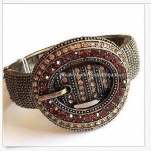 Country Western Belt Buckle Bracelet Gold Crystal